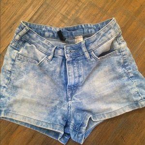 high waisted marbled acid wash jean shorts